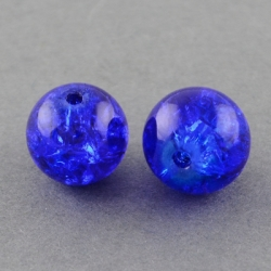 10 stk Crackle Glasperlen, Blau, 10 mm..
