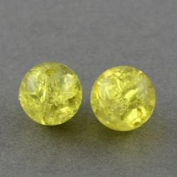 10 stk Crackle Glasperlen Gelb, 8 mm; ..