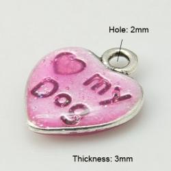 Herz mit Emaille, Platin Farbe, rosa, ..