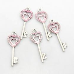 Herz Schlüssel, pearlpink, 50x18x2 mm,..