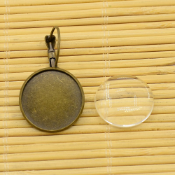 Cabochonset Ohrring inkl Glasstein