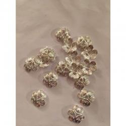 10 stk Perlenkappe silberfarben 12mm