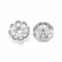 10 stk Edelstahl Perlenkappen,  9x2 mm..