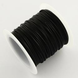 Gewachst Polyesterkorde, Schwarz, 1 mm..