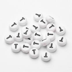 """10 stk Acryl Buchstaben """"T"""" Perlen, 7m.."""
