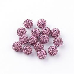 Polymer Ton Strass Perlen, lila, 10 mm..