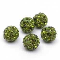 Polymer Strassperle Olive,  10mm Bohru..