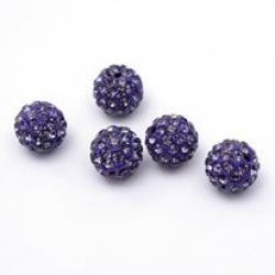 Polymer Strassperle violett, 10mm Bohr..