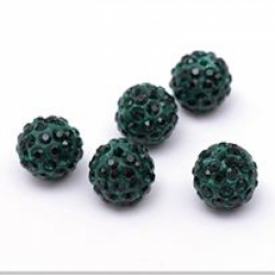 Polymer Strassperle Smaragd 10mm Bohru..