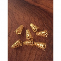 10 stk Lange Perlkappen, gold, 16mm