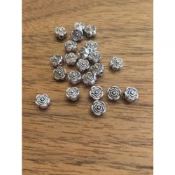 10 stk kl Metallperle Rose 6.5mm bohru..