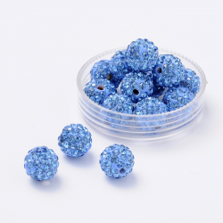 Polymer Strassperle hellblau, 10mm, bo..