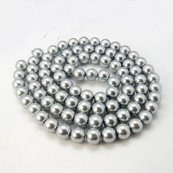 Glas-Perlen, Silberfarbig, 10 mm  Bohr..
