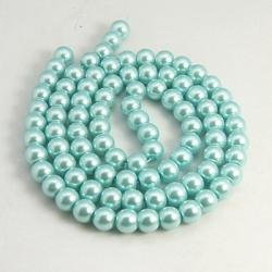 Glas Perlen pearlized, hellblau,10 mm ..