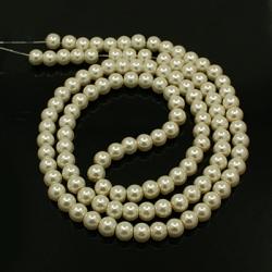 Glasperlen mit Perlglanz Elfenbein, 10..