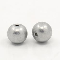 10 stk Aluminium-Perlen, Grau, 6 mm, Loch: 1.2 mm