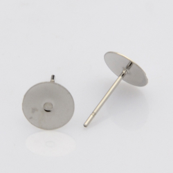 1 Paar 304 Edelstahl Ohrstecker Komponenten, Edelstahl Farbe, Klebefläche 8mm, Stift: 0.4 mm