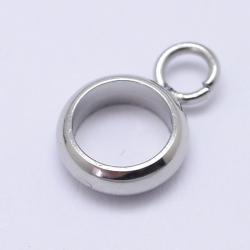 304 Edelstahl Collierschlaufe mit Biegering,9x6x2 mm, Bohrung: 2 mm