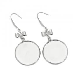 1 Paar  Edelstahl Ohrring mit Schleife, Silberfarben, für Cabochon mit 16mm, grösse 52mm x 18mm