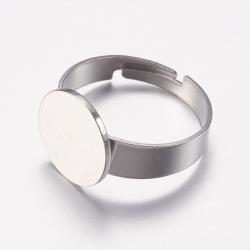 Verstellbarer 304 Edelstahl Fingerring, Edelstahl Farbe, Klebefläche 12 mm; Größe 7, 17 mm