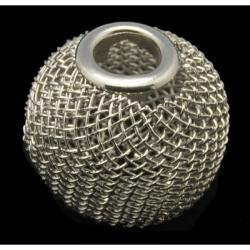 Drahtgeflecht Perlen, Platinfarben 16 mm im Durchmesser, 14 mm dick, Bohrung: 5 mm