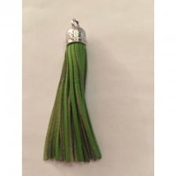 Lederquaste grün mit Metallkappe