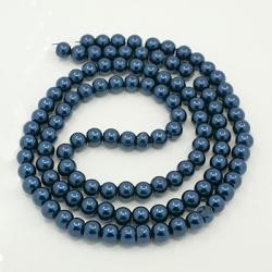 Glas Perlen  pearlized stahlblau 12 mm bohrung 1 mm,