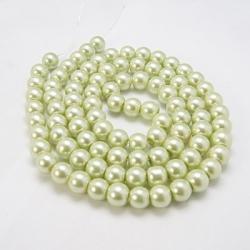 Glas Perlen pearlized,Honigtau, 10 mm Bohrung 1 mm, ca. 85 Stk. / strang.